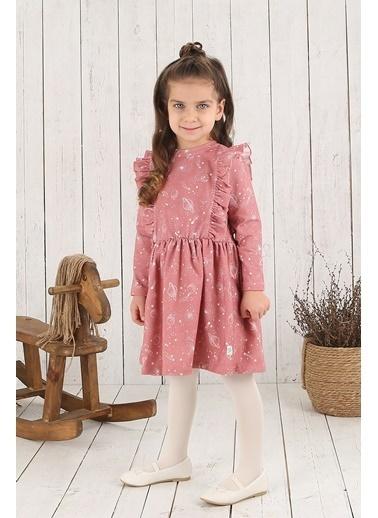 Nila Kids Pembe Rengi Cosmo Girl Baskılı Omuzları Fırfırlı Kız Bebek Organik Elbise NK09005AOP (6 AY- 5 YAş) Pembe
